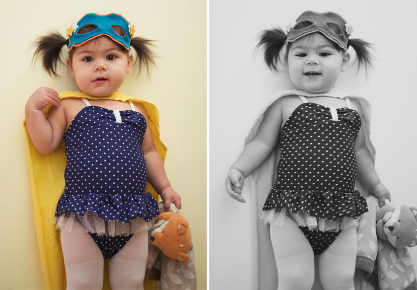 two images, one colored the other black and white of a toddler girl dressed as a super hero
